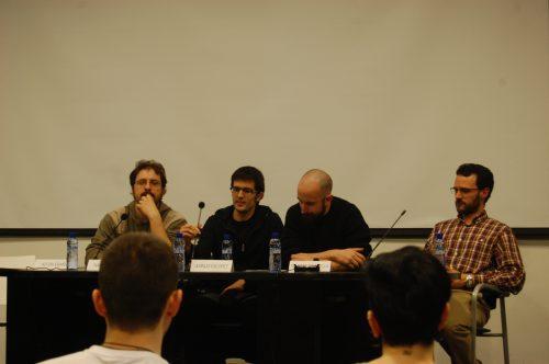 De derecha a izquierda: Xavier Águeda, Ismurg, Runtime y Nahum Rivas en la mesa redonda sobre Webcómics