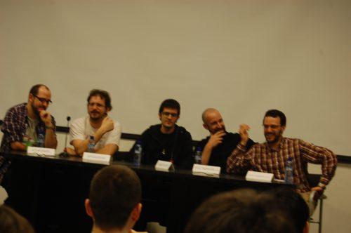 De derecha a izquierda: Xavier Águeda, Ismurg, Runtime, Nahum Rivas y Aitor Eraña en la mesa redonda sobre Webcómics