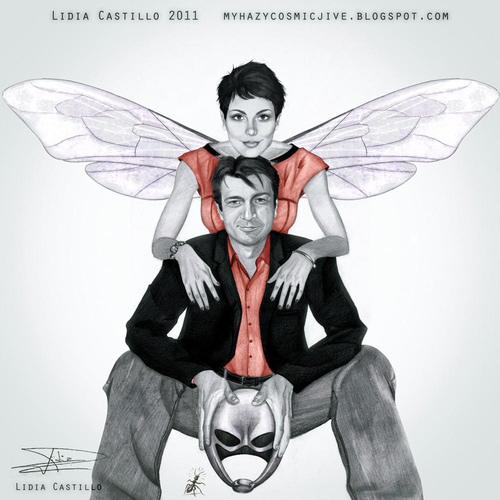 Nathan Fillion (Hombre Hormiga) Y Morena Baccarin (La Avispa) By Lidia Castillo.