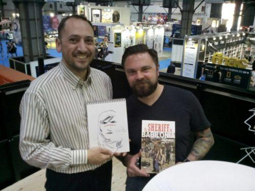 Mitch Gerads y Don Antonio, redactor de las Tortas, en el 35 Salón del Cómic de Barcelona.