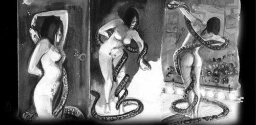 gorila serpientes guion o dibujo
