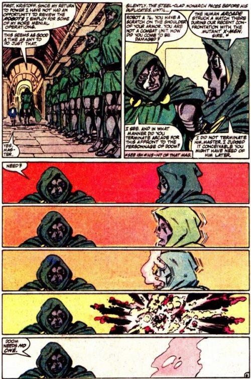 Muerte haciendo explotar a Chris Clar...eh, a uno de sus Doombots.