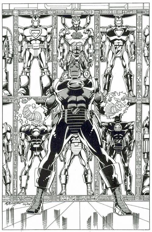 """""""Hall of Armors"""", Pin-Up de Bob Layton, resumiendo toda su carrera."""
